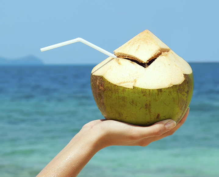 how to cut open a fresh young coconut